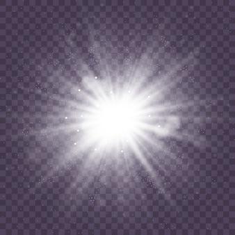 ほこりと輝きを持つ白いスターバーストは、青と黒の透明な背景に分離されました。キラキラと輝く光の星のセット。光の効果。
