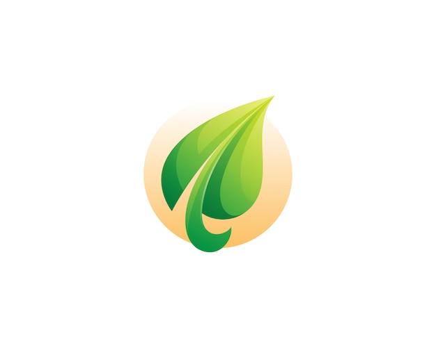 創造的な緑の葉のロゴ