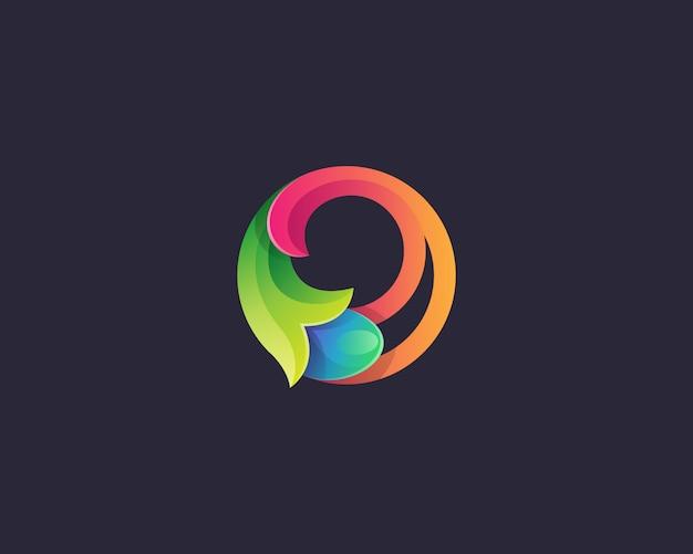 抽象的なサークル自然ロゴ