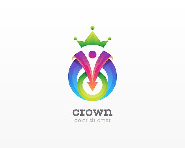 創造的なカラフルな王冠ロゴ