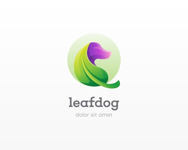 犬のロゴ入りクリエイティブコンビネーションリーフ