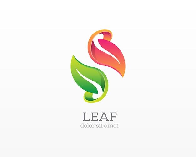 葉のロゴ。シンプルなモダンなダブルリーフアイコン