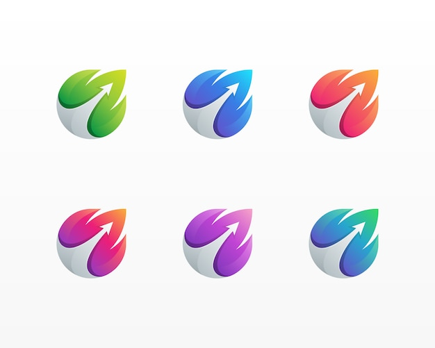 矢印の葉のロゴ。葉のロゴとカラフルな抽象的な矢印