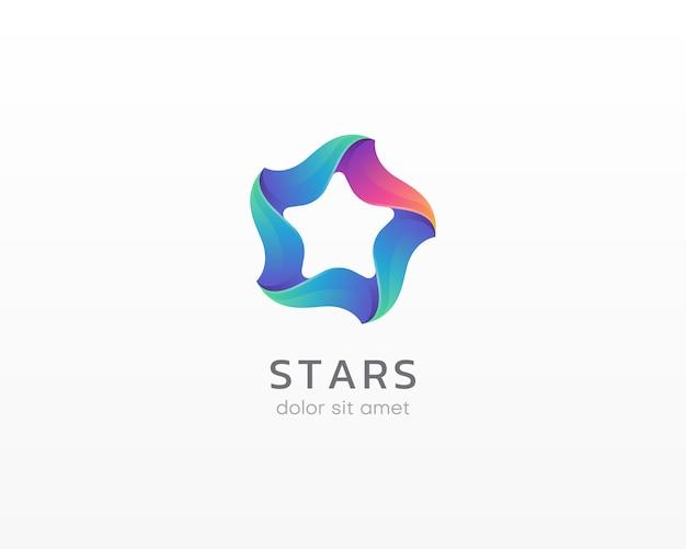 星のロゴ。カラフルなグラデーションスターのロゴ