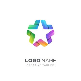 創造的なカラフルな星のロゴ