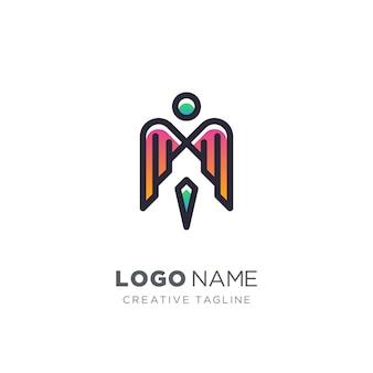 Креативное письмо м и крылья логотип