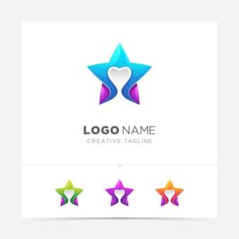 愛のロゴと創造的なカラフルな星