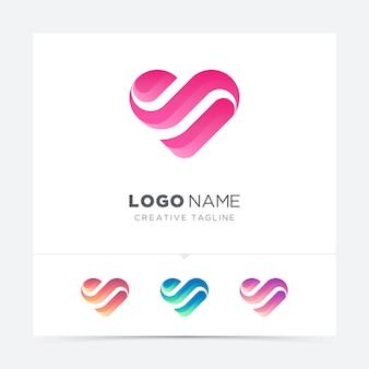 抽象的な創造的な愛のロゴのバリエーション