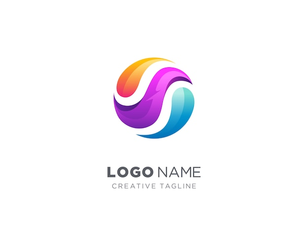 抽象的なカラフルなサークルのロゴ