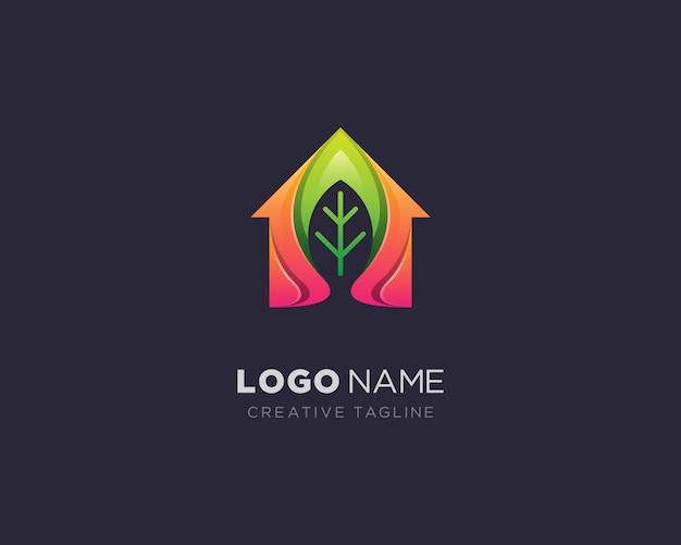 創造的な家の葉のロゴ
