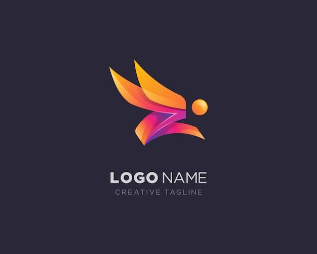 抽象的な創造的なジャンプ人ロゴ