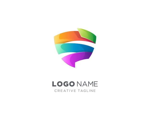 創造的なカラフルなリボンのロゴ