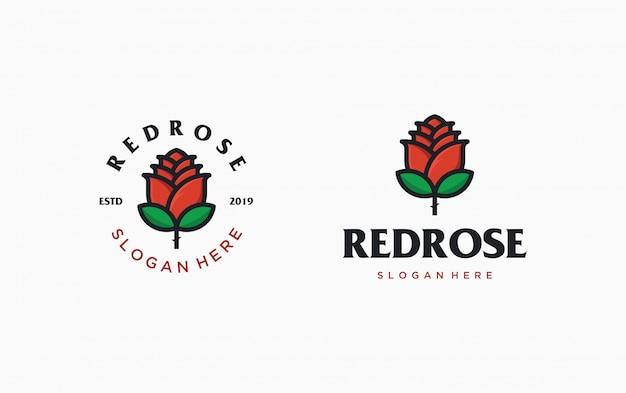 赤いバラのロゴのテンプレート。