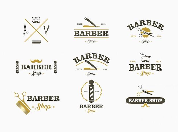バーバーショップのロゴを設定します。ロゴ、ラベル、エンブレムの要素のコレクション。