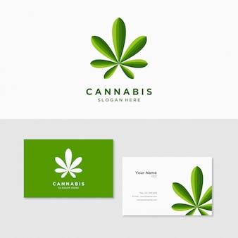 Логотип вдохновения конопля марихуана с шаблоном визитной карточки