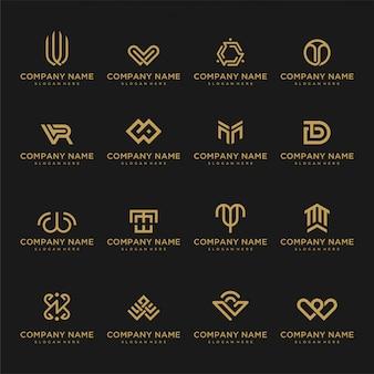 Набор логотипа шаблона. необычные иконки для бизнеса универсальные из роскоши, элегантные, простые.