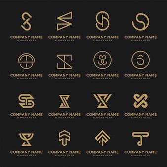 プレミアムベクトルのロゴイニシャルのセット。高級企業のブランディングのための美しいロゴタイプのデザイン