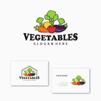 Логотип дизайн шаблона овощные иконки с визитной карточкой