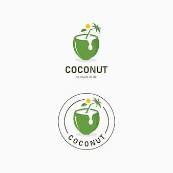 ココナッツウォータードリンクのロゴデザイン。ココナッツドリンクでビーチとココヤシのビューを持つリゾートロゴ