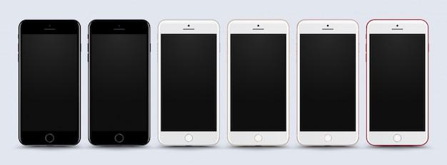 コレクション携帯電話は白い背景にモックアップ