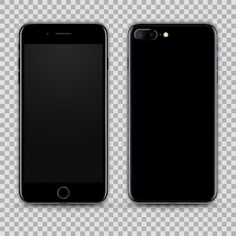 Реалистичный черный смартфон, изолированных на прозрачный фон. вид спереди и сзади