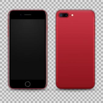 Реалистичный красный черный смартфон, изолированных на прозрачный фон. вид спереди и сзади