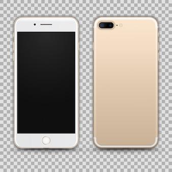 Реалистичный золотой смартфон, изолированных на прозрачный фон. вид спереди и сзади