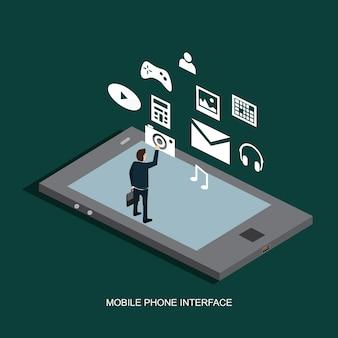 携帯電話のインターフェースの等尺性の概念