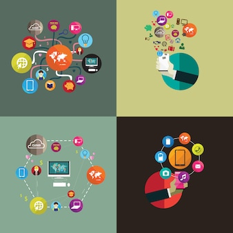 フラットなデザインのソーシャルメディアインターネット技術のセット