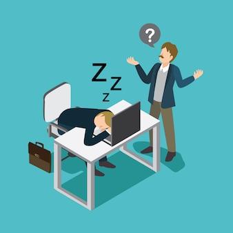 眠っている怠惰なビジネスマン