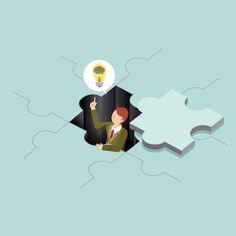 パズルのアイデアを創造的なビジネス人々