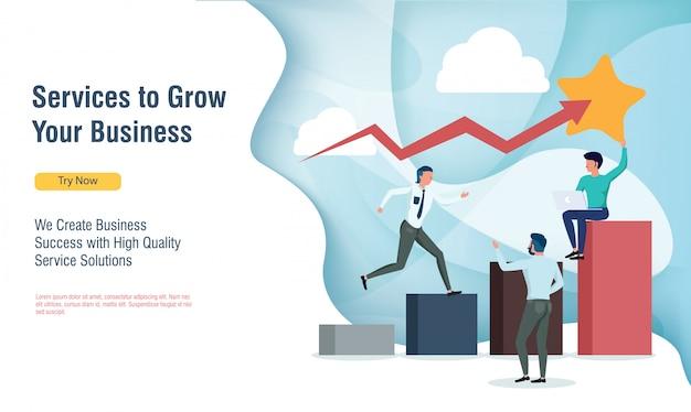 フラットなデザインとランディングページで利益グラフを成長しているビジネス人々