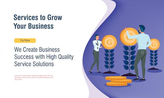 フラットなデザインとランディングページでお金の植物を成長しているビジネス人々