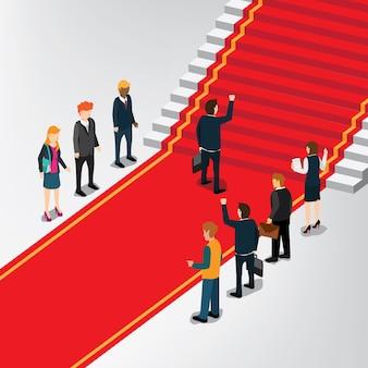Деловой человек, стоящий перед лестницей выиграть