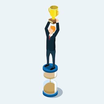 ビジネスの男性と時間の勝者