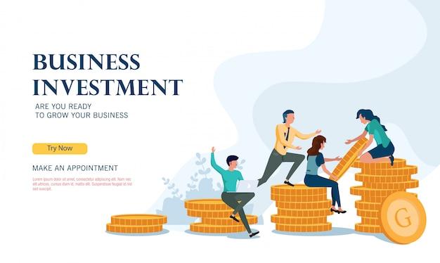 フラットなデザインコンセプトで成功するビジネス投資プログラム