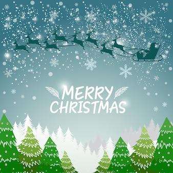 シルエットサンタとクリスマスの背景