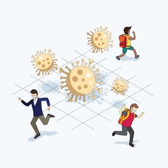 Люди убегают от вирусов короны