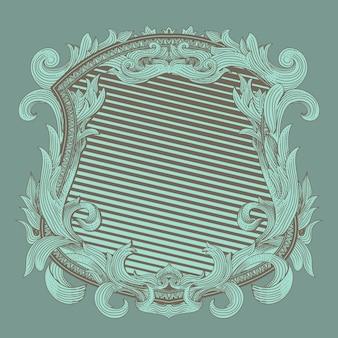 Ренессансный геральдический значок со старинным орнаментом флоры
