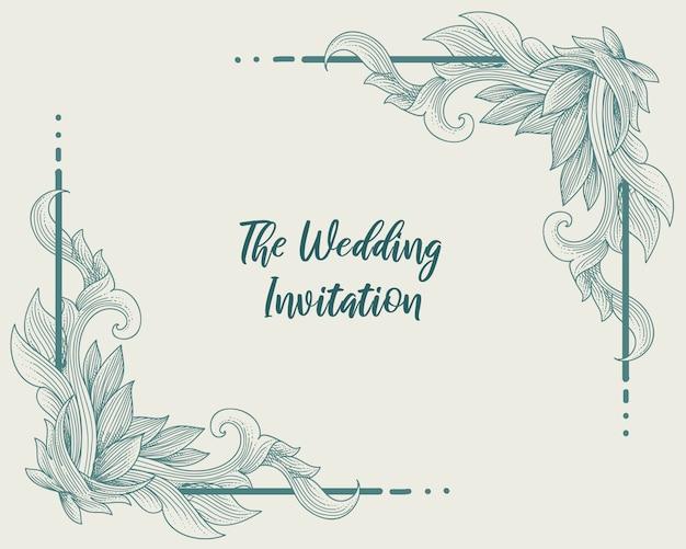 花飾りの結婚式の招待状