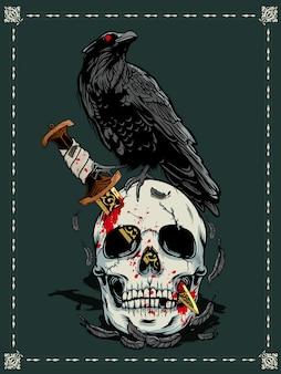 ハロウィーン、頭蓋骨、カラス、イラスト