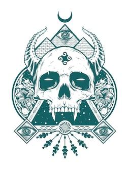 黒いコンセプトのシャツデザインのための悪魔の頭蓋骨