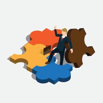 アイソメアムコンセプトのビジネスジグソーパズルアイデア