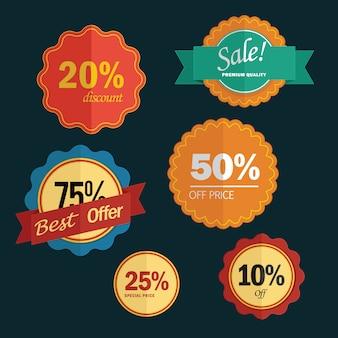 Набор значков продажи