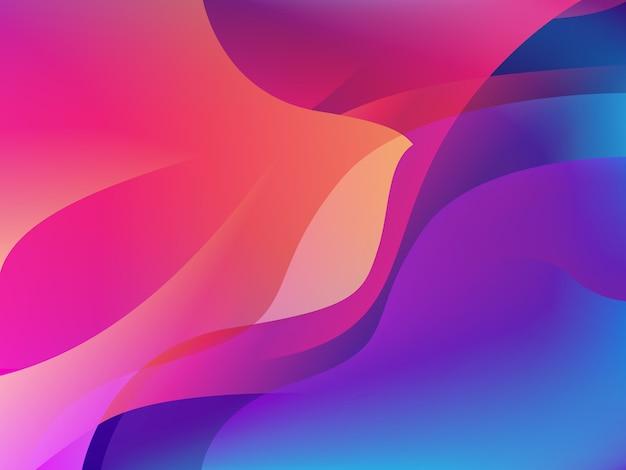 ホログラムカラーの抽象的な波