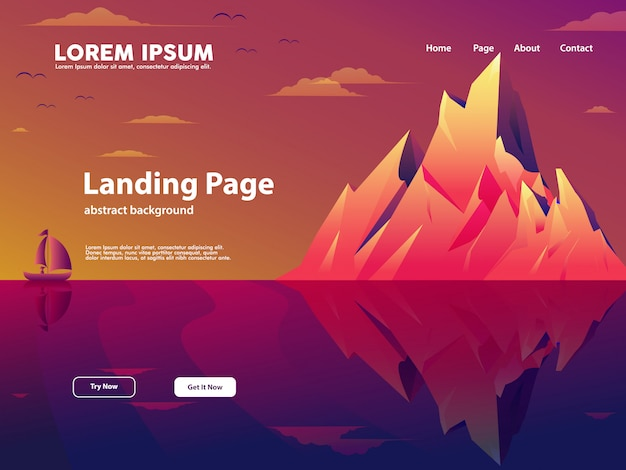 自然と山の概念とウェブサイトのランディングページ