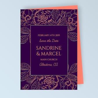 花飾り付きの花の結婚式のカード