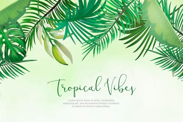 手で自然な背景を描いた熱帯の葉
