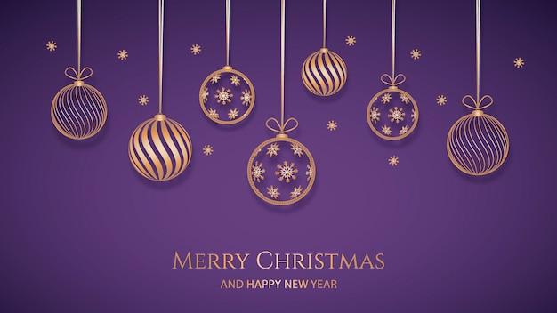 紙のスタイルで金色の装飾とクリスマスの背景