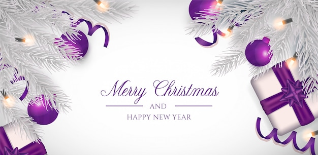 紫色の装飾とクリスマスの背景